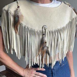 Vintage 80d leather fringe collar cloak